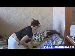 Petite beauty cuckolds her tiedup boyfriend