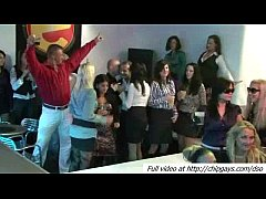 Lot dancing girls and guys on party