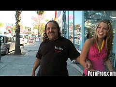 Ron Jeremy gets Kandi Cox to suck and fuck his large, hard cock