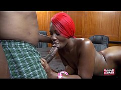 Slim Ebony Takes It In Both Holes