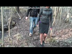 Titted brunette fuck in the woods