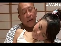 Delicious Japanese girl with natural tits surprises old man -