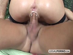 Hot brunette in stockings gets fucked hard by t...