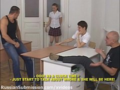 Russian student girl meets a pack of brutal guy...