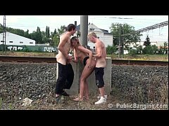 Risky PUBLIC threesome sex with a pretty MILF and 2 young guys with big dicks