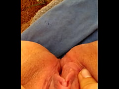 AquaPussy rubbing her clit in the woods