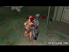 Hot 3D redhead babe riding a zombies hard cock