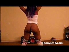 Ebony Emo With Nice Booty Dance Nude In Socks