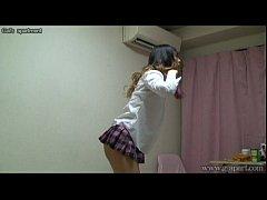 Japanese schoolgirl take off school uniform