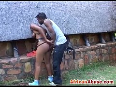 African girl bonded and abused by black guy wit...