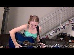 naked guitar playing teen