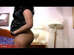Ebony shemale plays with her massive black shecock