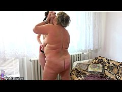 OldNanny Old fat mom is playing with teen and s...