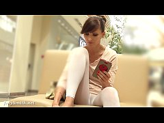 Jeny Smith white pantyhose flashing hidden cam