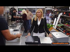 Hot blonde MILF gets paid by Pawnshop owner for...