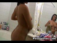 Hot Busty Neighbor Filmed Naked In the Bathtub