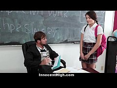 InnocentHigh - School Girl Pressured To Strip a...