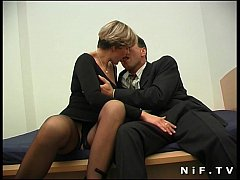 Short haired french milf in stockings gets her ...