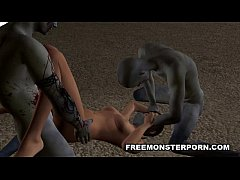 Sexy 3D Toon Babe Double Teamed Outdoors by Zom...