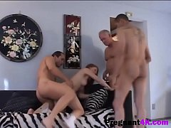 Three studs bang pregnant brunette babe roughlyg
