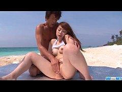Mayuka Akimoto loves dealing two cocks at the b...