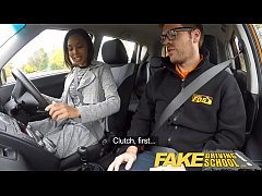 Fake Driving School nervous black teen filled up by her teacher in the car