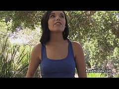 Blown by cute perky teen in the woods
