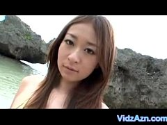 Asian Cutey Sucks Dick on Beach