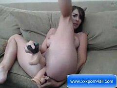 Sexy Teen DP with dildo on webcam - www.xxxporn...