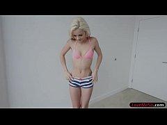 Skinny blonde teen Elsa Jean fucked doggy by bi...