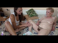 Old mature and young woman striptease and toy p...