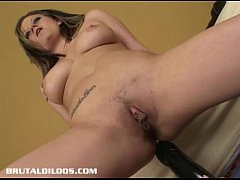 Thick brunette gaping her asshole with a brutal...