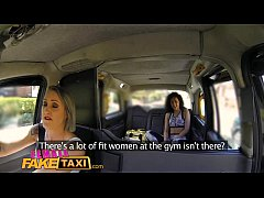 Female Fake Taxi Fitness babe stretches her pussy