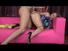 Girl in high heels and panty hard fuck from behind