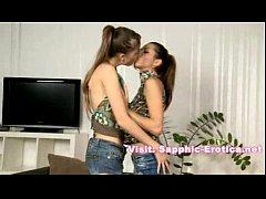 Two pretty lesbians fucking after long kissingl...