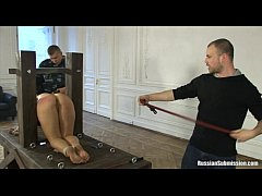 A puffy wife bound on her knees and abused by t...