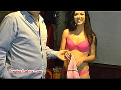 Stunning teen gets fingering and facial after interview