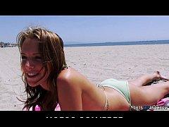 Bikini-clad Alisha Adams teases her big natural tits before anal