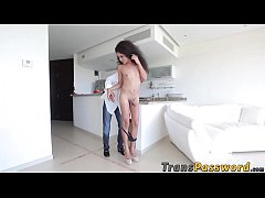 Cute shecock Pearl Rios receives a huge dick in...