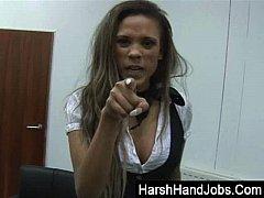 CBT secretary gets rise with a harsh handjob