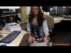 Hot college babe sucks Pawnshop owners cock lik...