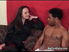 Black stud with big cock fucks slut