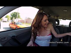 Redhead teen giving blowjob in he car and outdoor pov