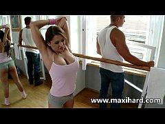 Brunette hottie gets a massive load on the danc...