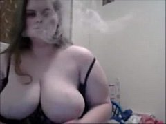 Huge DDD Tits Wife Smokes On Cam And Play With ...