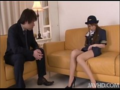 Cute and horny Yuzu Shiina in her airline outfit fingers her pussy on camera