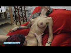 Skinny MILF lapdances, gives BJ and fucks in fe...