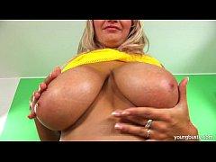 Busty young Darina fucking a large dildo