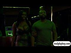 Black and ebony couple threesome scene