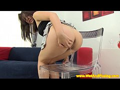 Pissdrinking brunette teen and her little toy